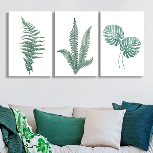 3 Panel Watercolor Style Tropical Plants Gallery x 3 Panels