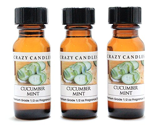 Cucumber Mint 3 Bottles 1/2 FL Oz Each (15ml) Premium Grade Scented Fragrance Oil by Crazy (Cucumber Mint Candle Scent)