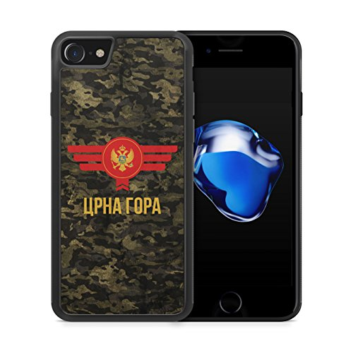 Montenegro Camouflage mit Schriftzug - Hülle für iPhone 7 SILIKON Handyhülle Case Cover Schutzhülle - Bedruckte Flagge Flag Military Militär
