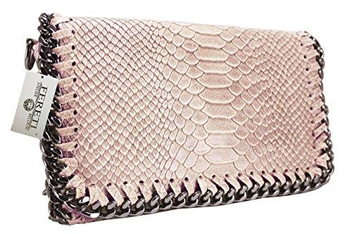 main pour nude cuir sac FERETI pale chaîne pochette serpont femme impression Rose a bandoulière EBPWTPZq
