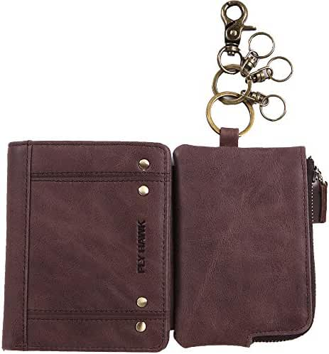 RFID Blocking Wallet with Card Holder ID Window Keychain Ring Genuine Leather Wallet for Men Women
