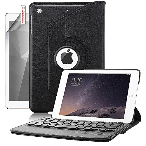 iPad Mini Case with Keyboard, Boriyuan 360 Degree Rotating Stand Detachable Wireless Bluetooth Keyboard PU Leather Cover for Apple iPad Mini 1/Mini 2/Mini 3 with Screen Protector and Stylus, Black