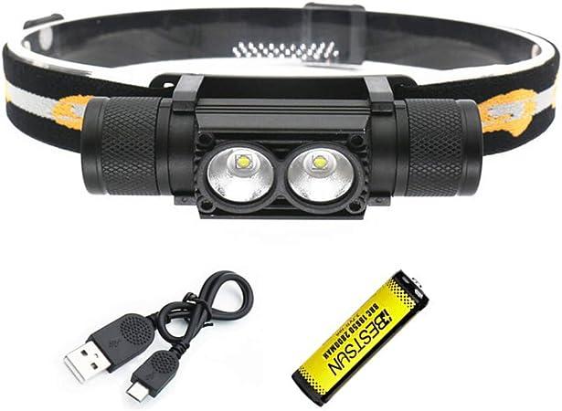 BESTSUN Linterna Frontal LED Recargable, 2000 lúmenes Linterna Frontal Super Brillante XML-L2 Vigas/Linterna con Cabeza extraíble/Regulable sin Fin / ...