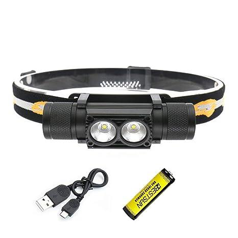 Yizhet Linterna Frontal LED Recargables Luces Super Brillantes,4 Modos de Luz y hasta 300 Metros Cabeza Impermeable para Camping//Pesca//Ciclismo//Carrera//Caza