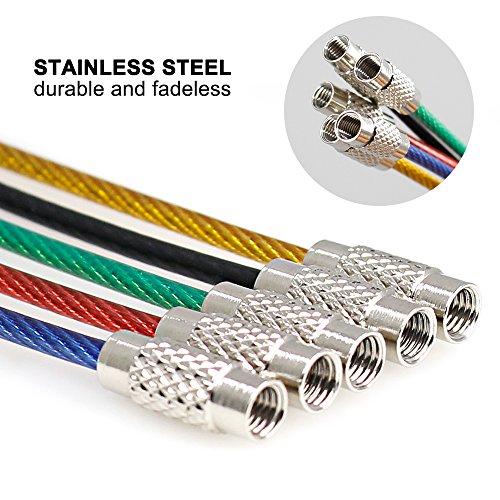 Senhai 25pcs Alambre Llaveros, Llavero 2mm Cable Loops Engranaje de Acero Inoxidable para Colgar Etiqueta de Equipaje, llaveros y Guardianes de ...
