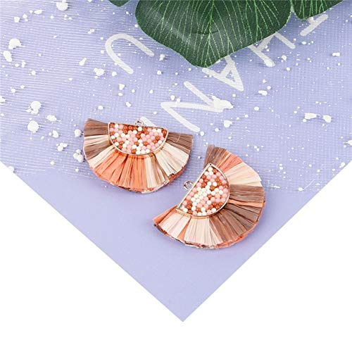 Laliva Accessories - 3x5cm Copper Small Half Beads Lafite Fan Shaped Charms Pendant Tassel Making Earrings Necklace DIY Handmade Jewelry Accessories - (Color: Mixed 2)