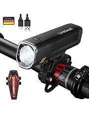 Linkbest Fahrradbeleuchtung Set Stvzo zugelassen USB wiederaufladbare Fahrradlicht, Samsung Li-ion Akku 2600mAh, 40 Lux, Cree LED,wasserdicht IPX-4, verstellbare Halterung Fit für alle Fahrräder.