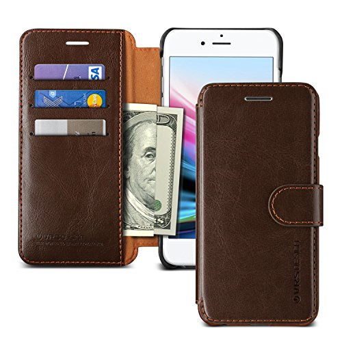 iPhone 8 Case, VRS DESIGN Drop Protection Cover Classy Slim Premium PU Leather Wallet [Dark Brown] ID Credit Card Slot Holder for Apple iPhone 8 [Layered Dandy] (Pu Slim Design Leather)