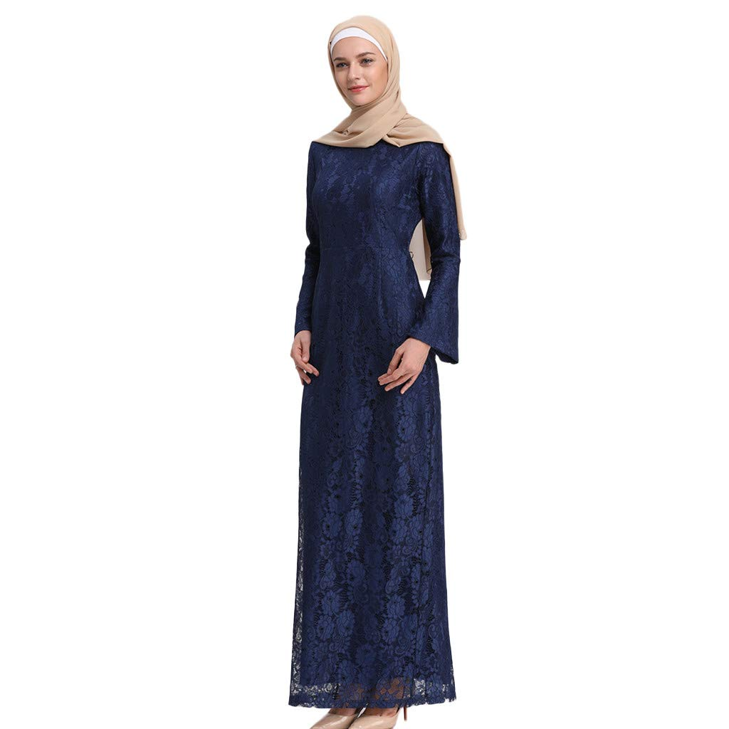 Muslim Trumpet Sleeves Slim Long-Sleeved Fashion Lace Embroidered Dress Blue