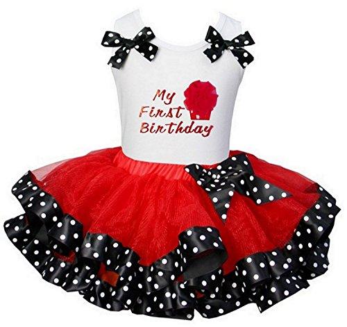 Kirei Sui Red Black Polka Dots Tutu First Birthday Top XS White (Minnie Mouse 1st Birthday Dress)