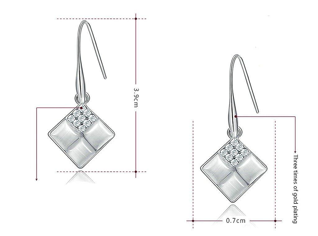 Daesar Gold Plated Earrings Womens Square Cubic Zirconia Earringsquare Earring White Gold 0.7X3.9CM