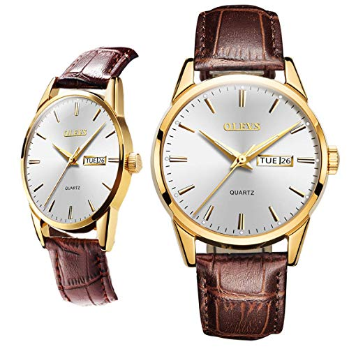 Business Leather Men Watches-OLEVS Analog Quartz Male Dress Week Date Classic Luminous White Dial Brown Leather Strap 3ATM Waterproof Wrist Watch Lovers (Waterproof Leather Watch Mens)