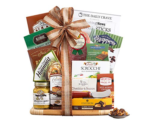 Cutting Board Gift Board Salami, Crunch Mix, Truffles, Hummus, Bagel Chips, Dried Fruit and Nut Mix