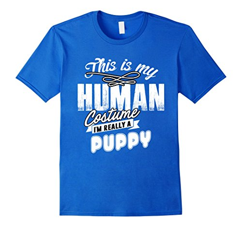 College Costume Ideas Cheap (Mens Puppy Halloween Costume Shirt Easy Funny for Men Women Kids 2XL Royal Blue)