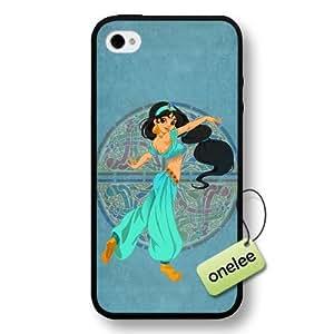 Disney Cartoon Movie Aladdin & Jasmine Hard Plastic Phone Case & Cover for iPhone 4/4s - Black