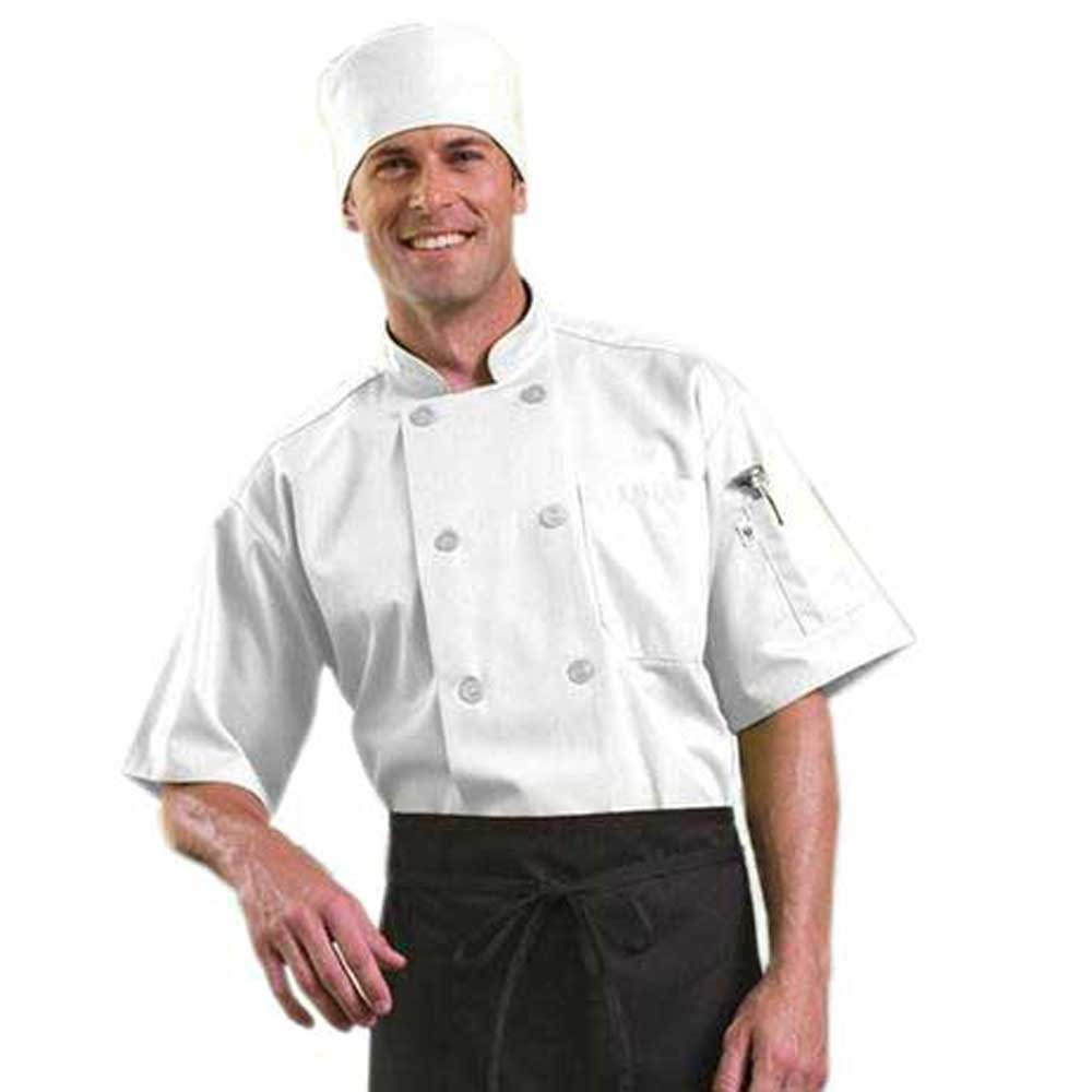 Short Sleeve Chef Coat with Mesh Back (White, L)