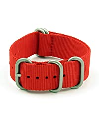 StrapsCo 22mm Red Matte Silver 5-Ring G10 Ballistic Nylon Nato Zulu Watch Strap