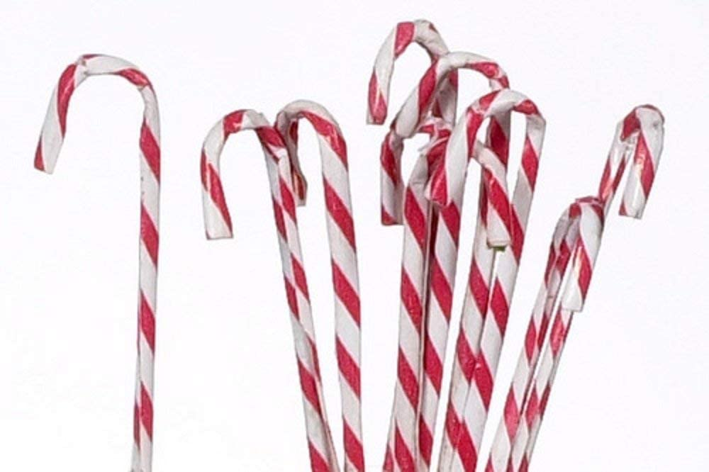 Dollhouse Miniature Set of 12 Red and White Candy Canes for Christmas Holiday...