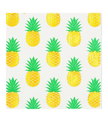 - 40count Luncheon Napkins, 3-Ply, Pack of 40(2 Packs of 20 Napkins)Beverage &Cocktail Napkins,Decorative Paper Napkins 5x5 inch,ideal for Wedding, Party, Birthday,Decoupage,gold pineapple,