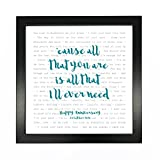 Ed Sheeran, Tenerife Sea, Song Lyrics Print Framed & Personalised - Anniversary Valentine's Wedding Gift Perfect for him, her, Couple - Fully Framed Black Box 9.5 inch Frame