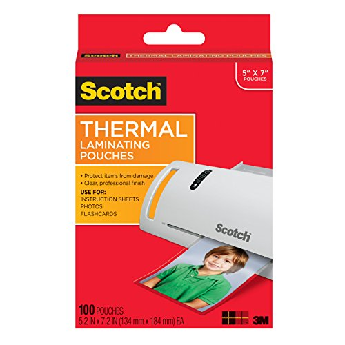 : Scotch Thermal Laminating Pouches, 5 x 7-Inches, Photo Size, 100-Pouches (TP5903-100)