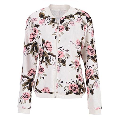 Eleery Manches Hiver Longues Manteau Jacket Veste Automne Imprim Floral Zip Femmel Pull qxawzp8Frq