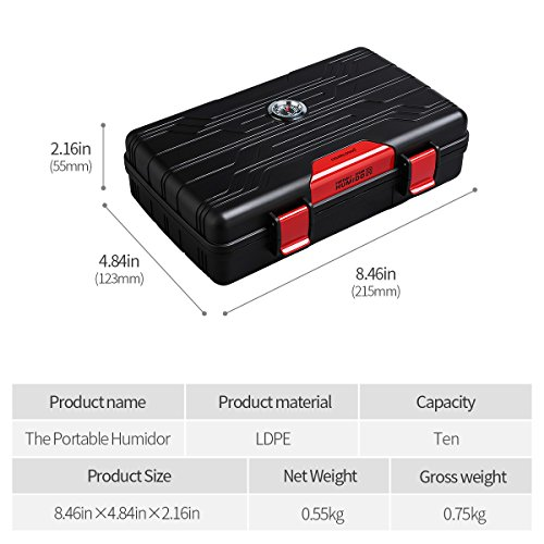 Cigar Travel Case Double Layer Accommodates 10 Cigars Portable Box(Color:Red) … by CIGARLOONG (Image #4)