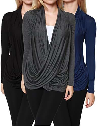 Free to Live 3 Pack Women's Lightweight Long Sleeve Criss Cross Pullover Nursing Tops