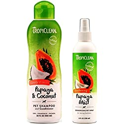 TropiClean Pet Grooming Bundle, 1 Each: Papaya & Coconut Luxury 2-in-1 Shampoo and Conditioner, and Freshening Papaya Mist Deoderizing Spray