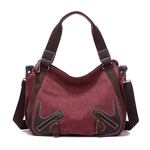 Señoras sola bandolera,bolso de la lona,portátil/bandolera-rojo rojo