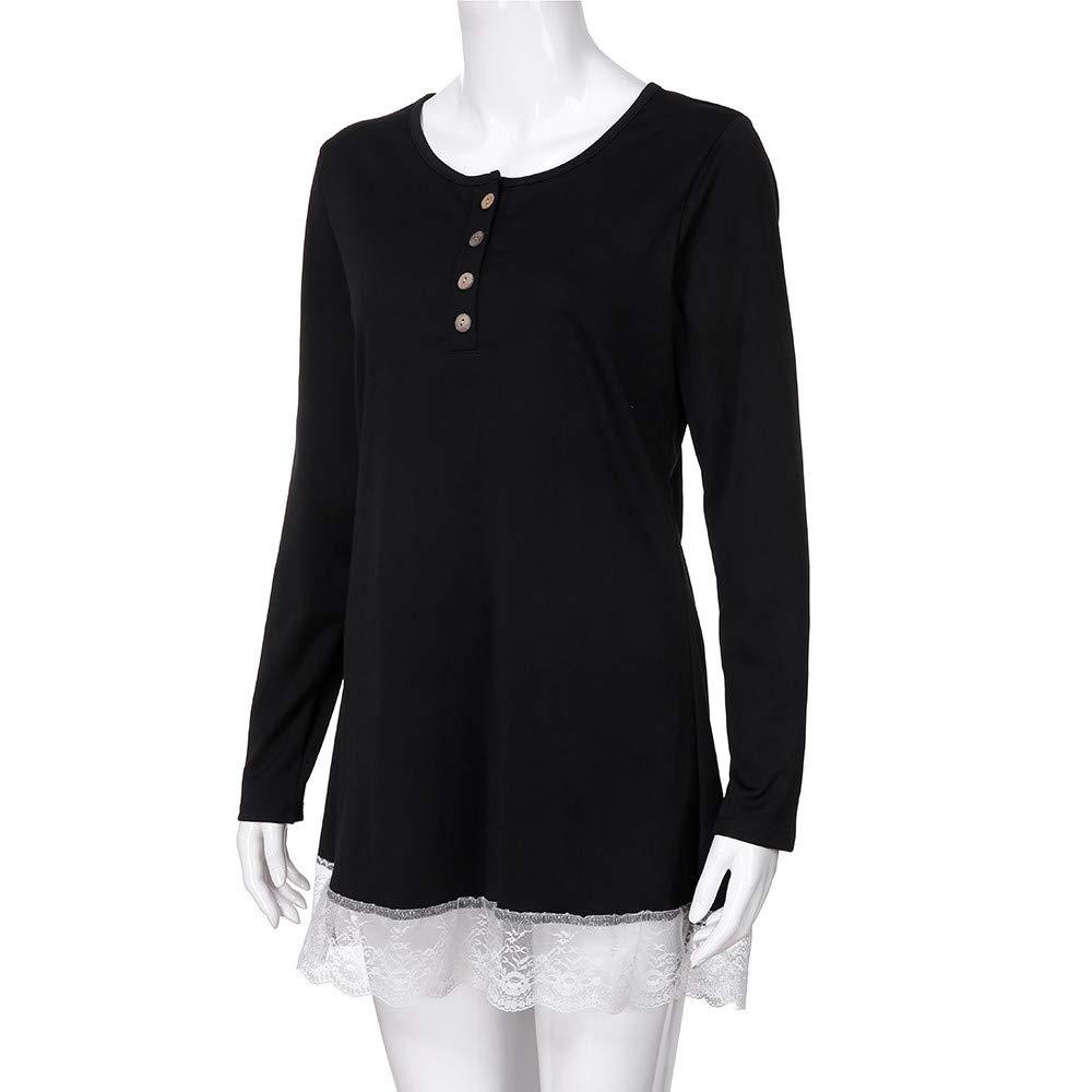 Mujer blusa vestido otoño,Sonnena ❤ Vestido de blusa de manga larga casual mujer otoño O-cuello con botón color sólido camiseta de encaje Blusa Tops: ...