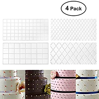 Fondant Impression Mat Mould,BESTOMZ 4-Piece Quilted Fondant Imprint Mat Set - Plastic - Cake Decorating Supplies for Wedding Cake Decoration Tools