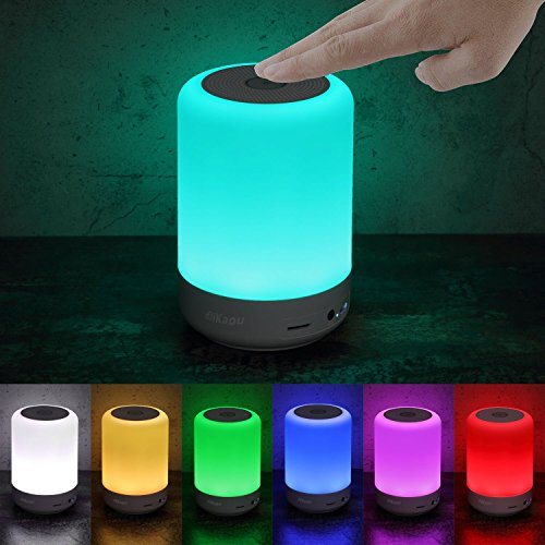 DIKAOU Touch Bedside Lamp with LED Bluetooth Speaker, Dimmable Warm White Table Lamp, RGB Color Changing Children Night Light, Best Lamp for Teens Men Women Kids Sleeping Aid, White