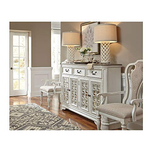 Svitlife Magnolia Manor Antique White Hall Buffet Buffet Cabinet Storage Kitchen Sideboard Hutch Cupboard White