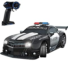 Haktoys Large 1:12 Scale Police Sports RC Car Realistic Sound & Detailed Design with Headlights - Battery Operated & Pre-Assembled.  Features: 1:12 Scale Large Size LED Headlights Adjustable Front Wheel Alignment  Detailed Exterior &a...
