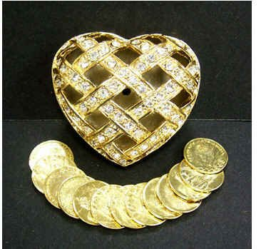 Elegant Wedding Heart Shaped Ceremonial Style Gold Arra 13 Gold Coins Included Boxed in Elegant Gift Box - Elegant Style Heart