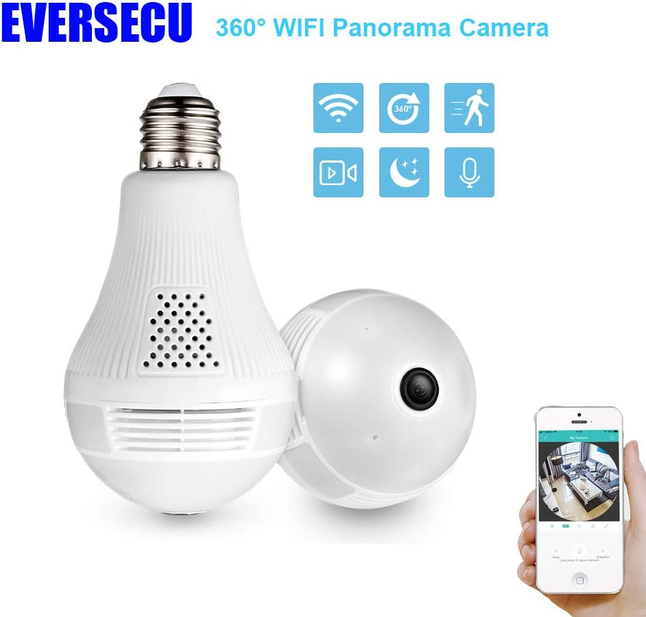 EVERSECU - 360 Degree Panoramic View WiFi IP Bulb Camera with FishEye Lens