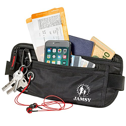 Money Belt - Travel belt - Money Belts RFID Blocking - Travel Pouch - Body Wallet - Passport Belt Anti theft - Travel Fanny Pack - Wallet Belt - Hidden Waist Pack for men women - Cash Belt for cards by JAMSY