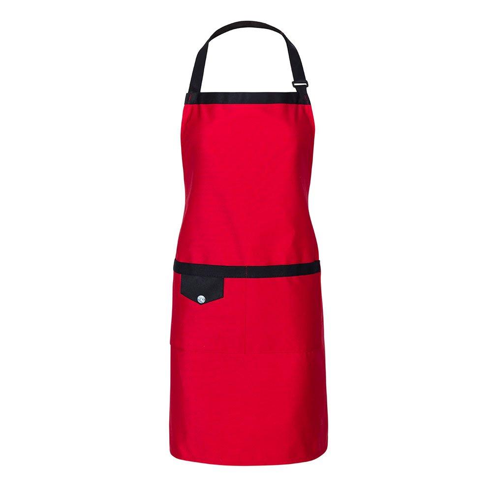 Black Adjustable Kitchen Apron 2 Pockets Women Men Simple Design (Black) Meychin