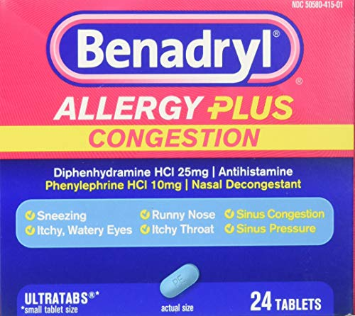 Benadryl Allergy Plus Congestion, 24 Tablets (Pack of 2)
