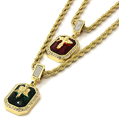 Angel Ruby Necklace - Mens Gold Angels & Ruby Bundle Set Cz Pendant Hip Hop 24