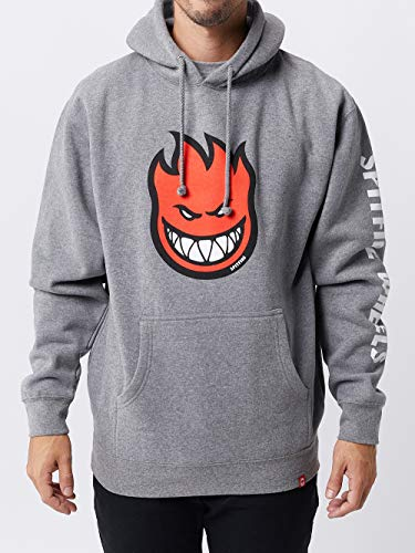 Gunmetal Mens Sweater (Spitfire Skateboard Hoody Bighead Fill Hombre Pullover Gunmetal Heather Size L)