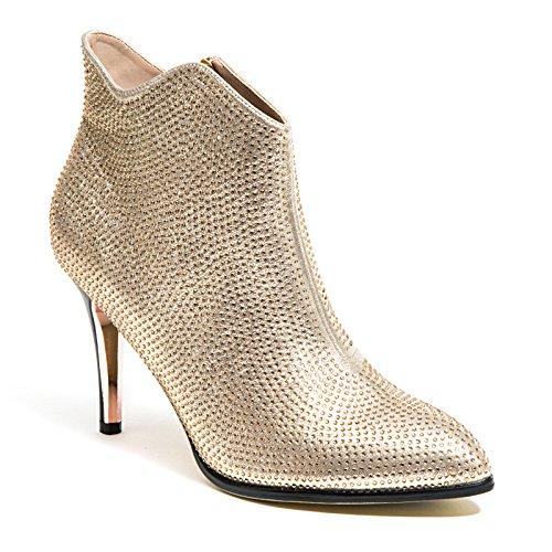 3 Hæl Glitter Med Rhinestone Ankel Tøffel Kvinner Sko Av Dame Couture,  Heldig Gull