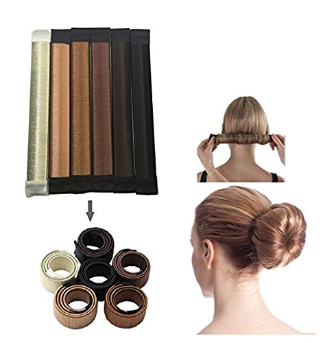 JJMG NEW 6pcs Bun Maker DIY Women Girls Perfect Hair Bun Making Styling French Twist Donut Bun Hairstyle Tool - 6 shades: Blond, Chestnut Color to - Style Shades