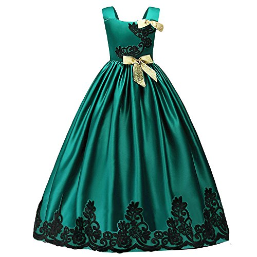 (HUANQIUE Girls Pageant Wedding Dresses Party Flower Girl Embroidered Gowns Green)