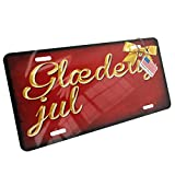 Metal License Plate Merry Christmas in Danish from Denmark, Faroe Islands - Neonblond