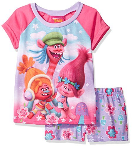 Trolls Big Girls' 2-Piece Pajama Set, Pink, 10
