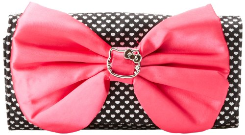 FAB Starpoint Big Girls'  Hello Kitty Satin Heart Bow Clutch, Black/Pink, One Size