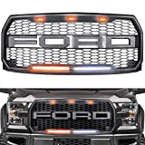 Raptor Style Grille for 2015-2017 Ford F150 - Replacement Raptor Grill Light Kit Front Bumper Grille w F&R - Dark Gray