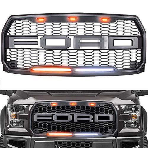 Raptor Style Grille for 2015-2017 Ford F150, Replacement Raptor Grill Light Kit Front Bumper Grille w/F&R, Dark Gray